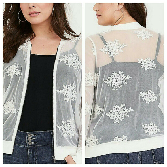 2X or 3X Torrid White Sheer Mesh Embroidered Zip Up Lightweight Bomber Jacket